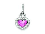 Sterling Silver Pink And Clear Cubic Zirconia Heart Pendant - Chain Included style: QP617
