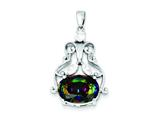 Sterling Silver Mystic And Clear Cubic Zirconia Pendant - Chain Included style: QP620