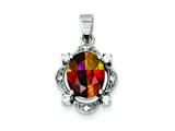 Sterling Silver Rainbow And Clear Cubic Zirconia Pendant Slide - Chain Included style: QP653