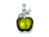 Sterling Silver Green Cabochon Apple Pendant - Chain Included style: QP662