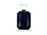 Sterling Silver Blue Cubic Zirconia Pendant - Chain Included style: QP686
