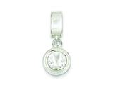 Sterling Silver Round Cubic Zirconia Pendant - Chain Included style: QP6