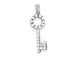 Sterling Silver Cubic Zirconia Key Shape Pendant - Chain Included style: QP774