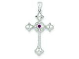 Sterling Silver Red Cubic Zirconia Cross Pendant - Chain Included style: QP937