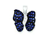Sterling Silver Antiqued Blue Cubic Zirconia Butterfly Pendant - Chain Included style: QP954