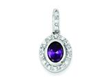 Sterling Silver Purple Cubic Zirconia Pendant - Chain Included style: QP982