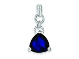 Sterling Silver Purple Cubic Zirconia Triangle Pendant - Chain Included style: QP988