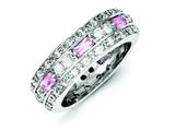 Sterling Silver Pink and Clear Cubic Zirconia Band style: QR1996