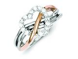 Sterling Silver And Vermeil Polished Cz Heart Ring style: QR2721