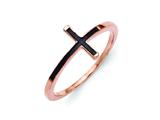 Sterling Silver Rose Plated Antiqued Sideways Cross Ring style: QR5882P