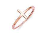 Sterling Silver Rose Plated Sideways Cross Ring style: QR5883P
