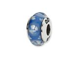 Reflections Sterling Silver Blue/White Floral Hand-blown Glass Bead / Charm