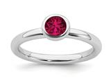 Stackable Expressions Sterling Silver Low 5mm Round Created Ruby Stackable Ring