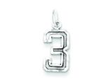 Sterling Silver Small Diamond-cut #3 Charm style: QSN03