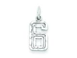 Sterling Silver Small Diamond-cut #6 Charm style: QSN06