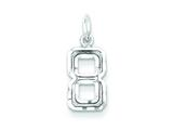 Sterling Silver Small Diamond-cut #8 Charm style: QSN08