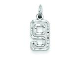 Sterling Silver Small Diamond-cut #9 Charm style: QSN09
