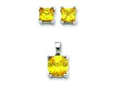 Sterling Silver Yellow Cubic Zirconia Pendant and Earrings Set - Chain Included style: QST162