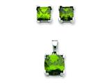 Sterling Silver Dark Green Cubic Zirconia Pendant and Earrings Set - Chain Included style: QST163