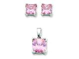 Sterling Silver Pink Cubic Zirconia Pendant and Earrings Set - Chain Included style: QST164