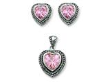 Sterling Silver Pink Cubic Zirconia Heart Pendant and Earrings Set - Chain Included style: QST167