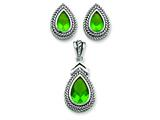 Sterling Silver Green Pendant and Earrings Set - Chain Included style: QST169