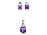Sterling Silver Purple and Clear Cubic Zirconia Pendant and Earrings Set - Chain Included style: QST171