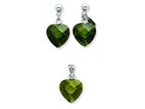 Sterling Silver Green Cubic Zirconia Heart Earringsand Pendant Set - Chain Included style: QST173