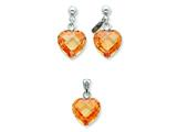 Sterling Silver Champagne Cubic Zirconia Heart Earringsand Pendant Set - Chain Included style: QST175