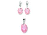 Sterling Silver Pink Cubic Zirconia Earringsand Pendant Set - Chain Included style: QST176