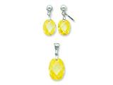 Sterling Silver Yellow Cubic Zirconia Earringsand Pendant Set - Chain Included style: QST177