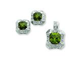 Sterling Silver Green and Clear Cubic Zirconia Pendant and Earrings Set - Chain Included style: QST179