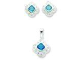 Sterling Silver Blue Cubic Zirconia Earrings And Pendant Set style: QST17