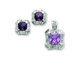 Sterling Silver Purple and Clear Cubic Zirconia Pendant and Earrings Set - Chain Included style: QST180