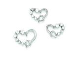 Sterling Silver Cubic Zirconia Heart Earringsand Pendant Set - Chain Included style: QST190