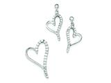 Sterling Silver Cubic Zirconia Heart Earringsand Pendant Set - Chain Included style: QST197