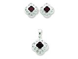 Sterling Silver Red Cubic Zirconia Earrings And Pendant Set style: QST19