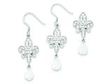 Sterling Silver Fleur-de-lis Cubic Zirconia Earringsand Pendant Set - Chain Included style: QST202