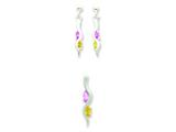 Sterling Silver Yellow and Pink Cubic Zirconia Earringsand Pendant Set - Chain Included style: QST207