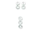 Sterling Silver Cubic Zirconia Earringsand Pendant Set - Chain Included style: QST208