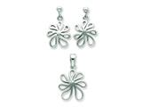 Sterling Silver Floral Earringsand Pendant Set - Chain Included style: QST209