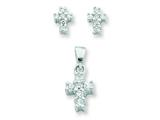 Sterling Silver Cubic Zirconia Cross Pendant and Earrings Set - Chain Included style: QST219SET