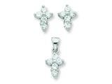 Sterling Silver Cubic Zirconia Cross Pendant and Earrings Set - Chain Included style: QST220SET