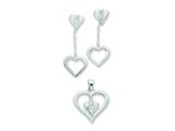 Sterling Silver Cubic Zirconia Heart Pendant and Earrings Set - Chain Included style: QST228SET