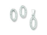 Sterling Silver Cubic Zirconia Oval Pendant and Earrings Set - Chain Included style: QST230SET