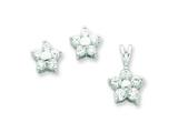 Sterling Silver Cubic Zirconia Flower Pendant and Earrings Set - Chain Included style: QST231SET