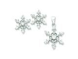 Sterling Silver Cubic Zirconia Snowflake Pendant and Earrings Set - Chain Included style: QST233SET