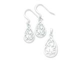 Sterling Silver Polished Filigree Teardrop Earringsand Pendant Set - Chain Included style: QST234SET