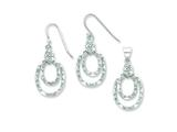 Sterling Silver Cubic Zirconia Ovals Wire Earrings And Pendant Set style: QST241SET