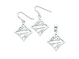 Sterling Silver Cubic Zirconia Wire Earrings And Pendant Set style: QST242SET